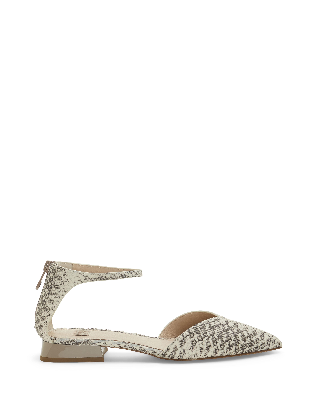 Louise Et Cie Women's Cicilia Ankle Strap Flats Shoes Size 10 Silky Le/Cow Patent Grey/White Snake Print